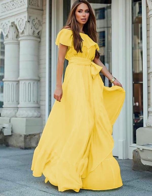 Rochie eleganta si rochie lunga de zi galbena, vaporoasa