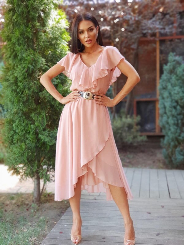 Rochie midi din voal roze cu centura