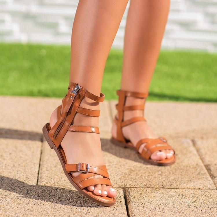 Sandale dama cu talpa joasa camel Caboria