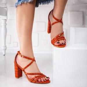 Sandale dama cu toc portocalii Tadisa