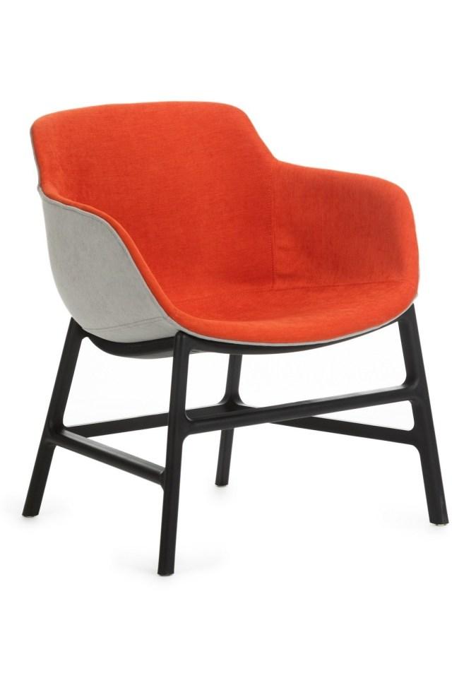 Scaun din plastic tapitat cu stofa cu picioare din metal Shirley Orange