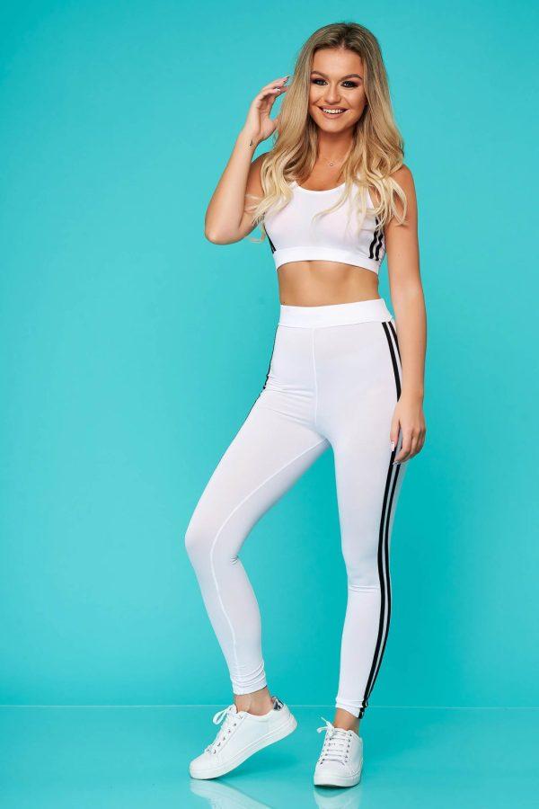 Trening dama SunShine alb din doua piese cu pantalon din material elastic
