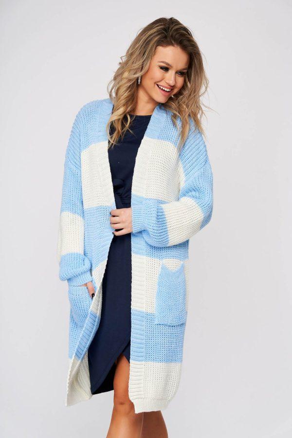Cardigan SunShine albastru-deschis casual lunga cu croi larg din material tricotat