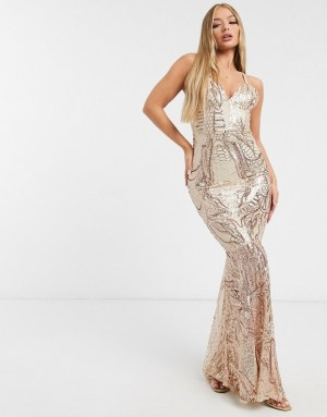 Club L London fishtail sequin maxi dress in rose gold
