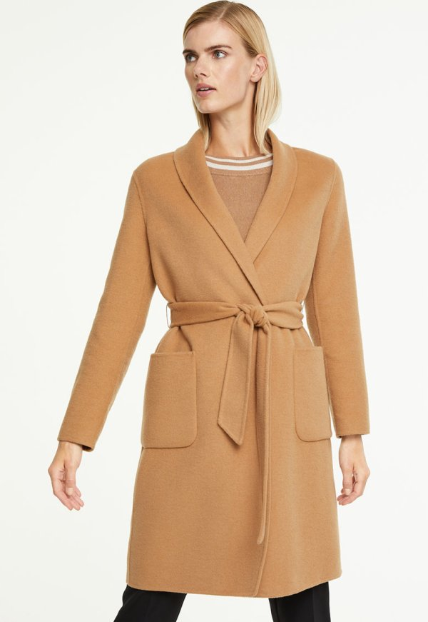 Palton dama bej petrecut cu guler sal