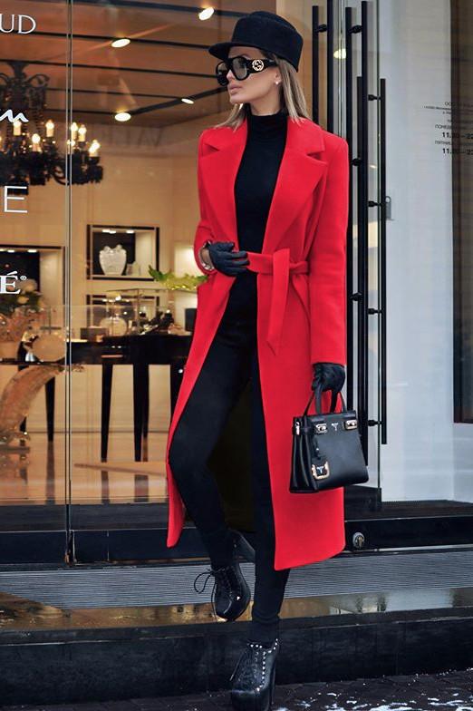 Palton dama rosu lung drept cu buzunare din stofa