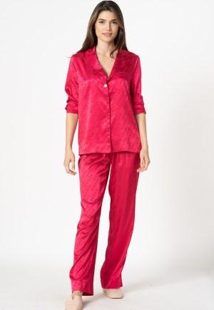 Pijama de satin cu model logo