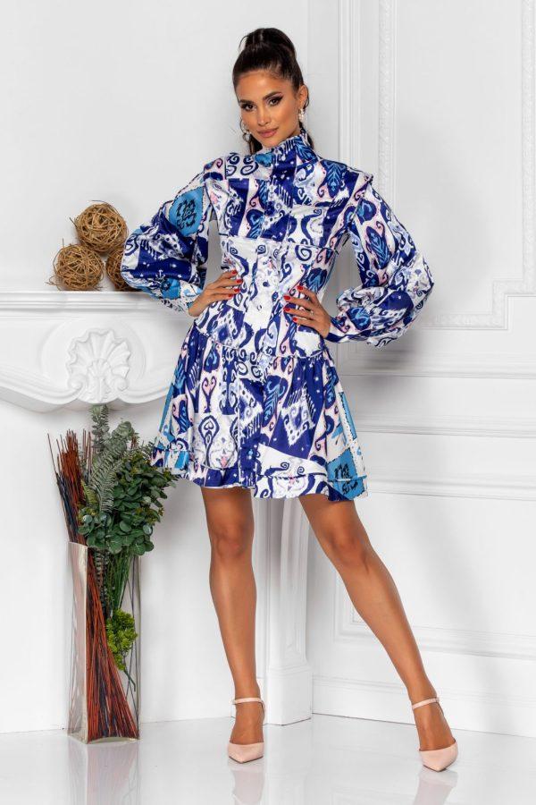 Rochie eleganta cu maneci lungi si imprimeu