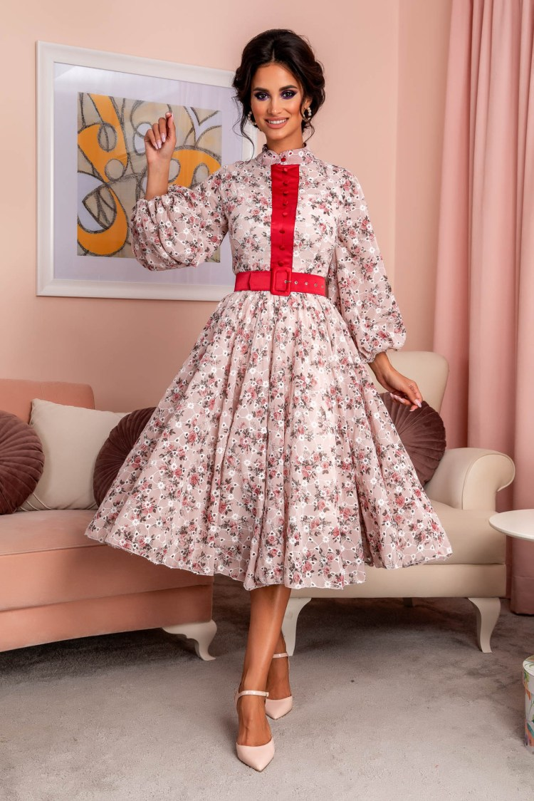 Rochie midi de ocazie cu imprimeu floral