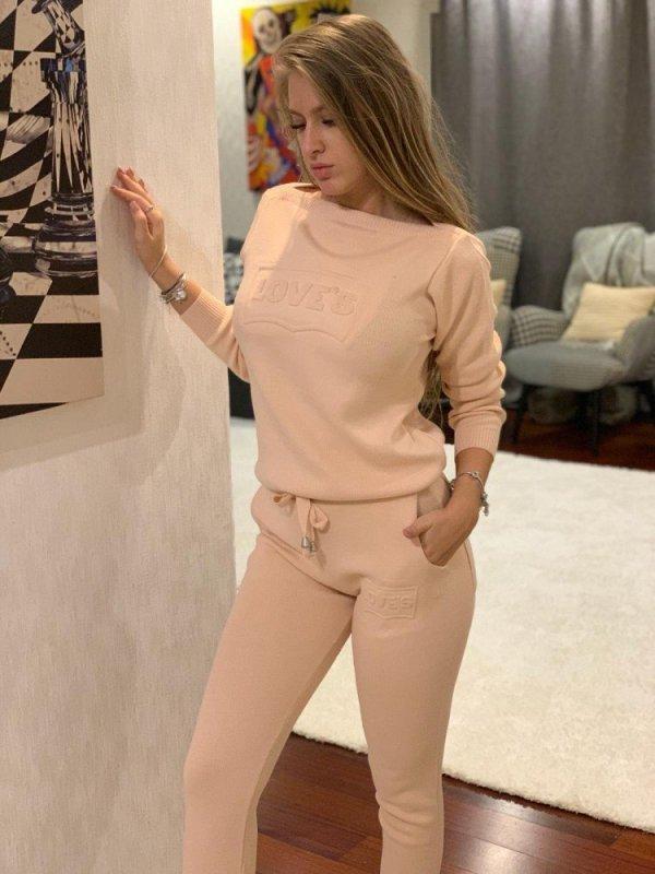 Trening dama lung roz pudra din tricot cu imprimeu Love s