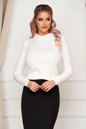 Bluza dama eleganta scurta alba mulata din tricot subtire