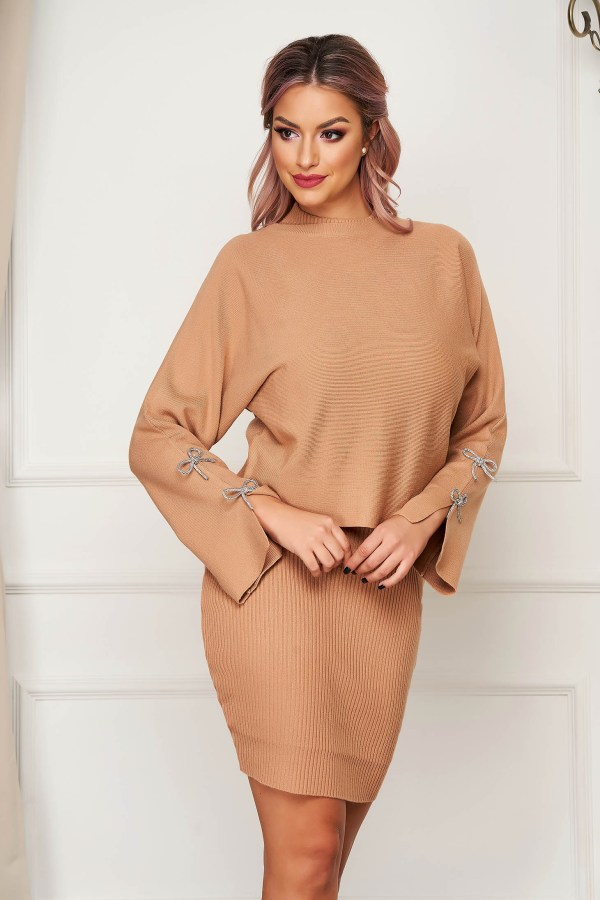 Compleu SunShine cappuccino casual tricotat din 2 piese cu rochie