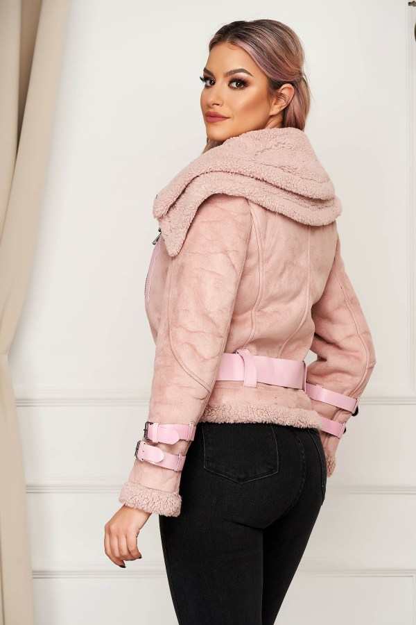 Geaca din piele intoarsa ecologica roz casual imblanita in interior