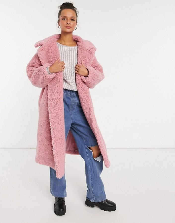 Monki Teddy shearling coat in pink
