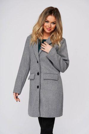Palton SunShine gri casual din stofa cu un croi drept si buzunare