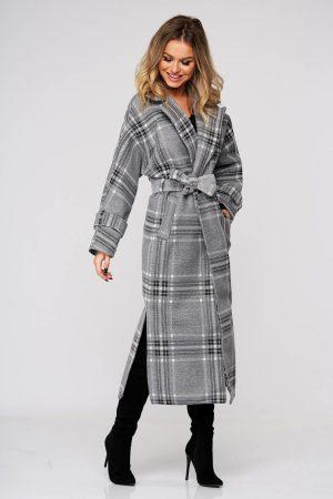 Palton SunShine gri lunga cu un croi drept accesorizat cu cordon din stofa neelastica in carouri