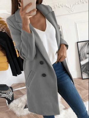 Palton dama gri drept