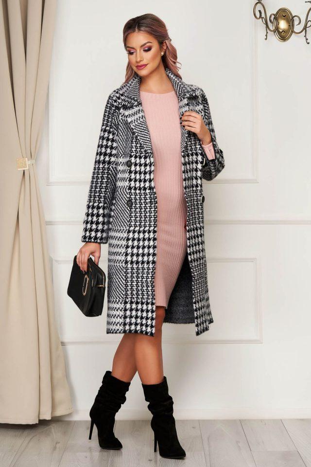 Palton elegant negru din lana cu croi larg in carouri