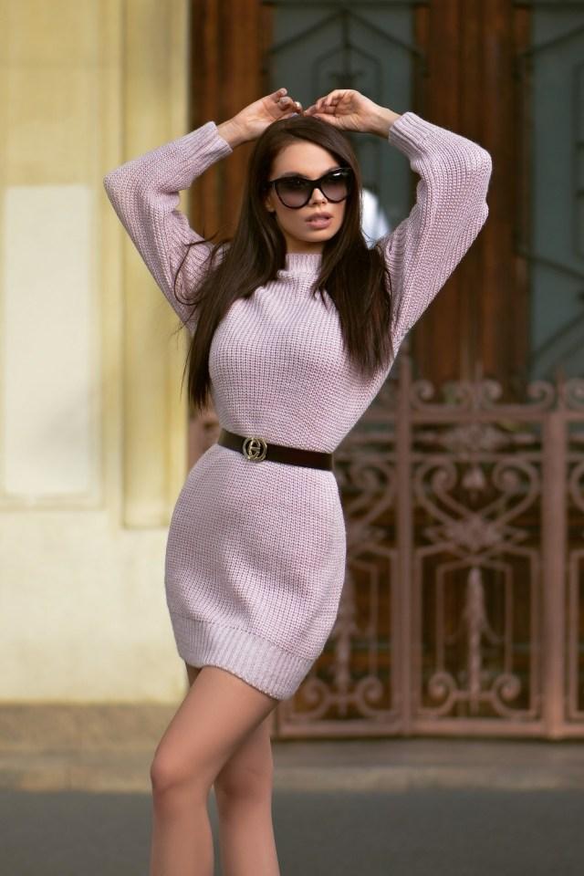 Rochie casual scurta tricot lila