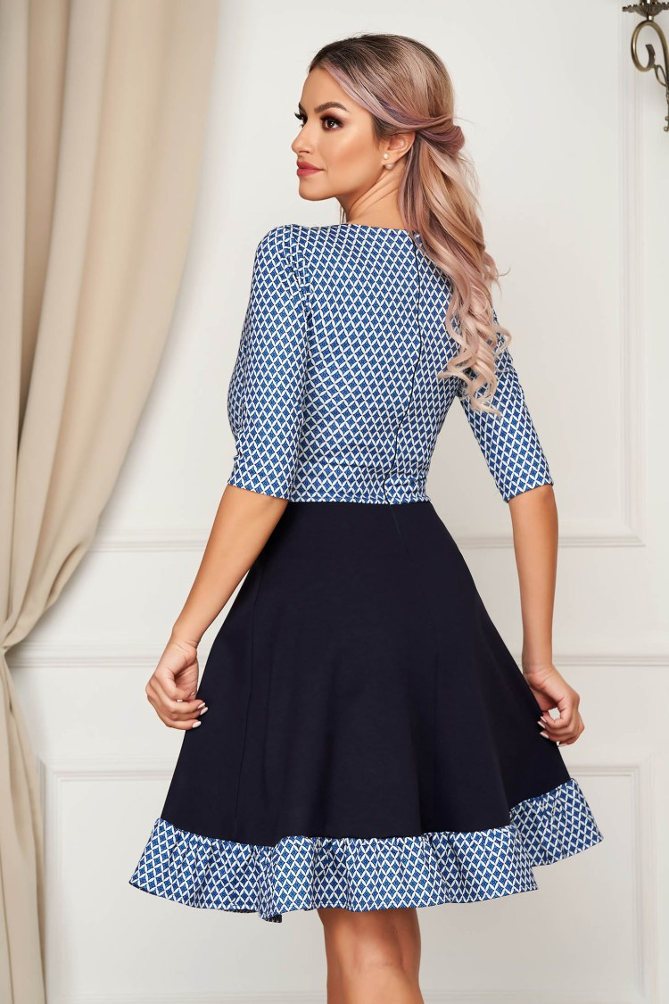Rochie eleganta albastra scurta in clos din stofa cu volanase