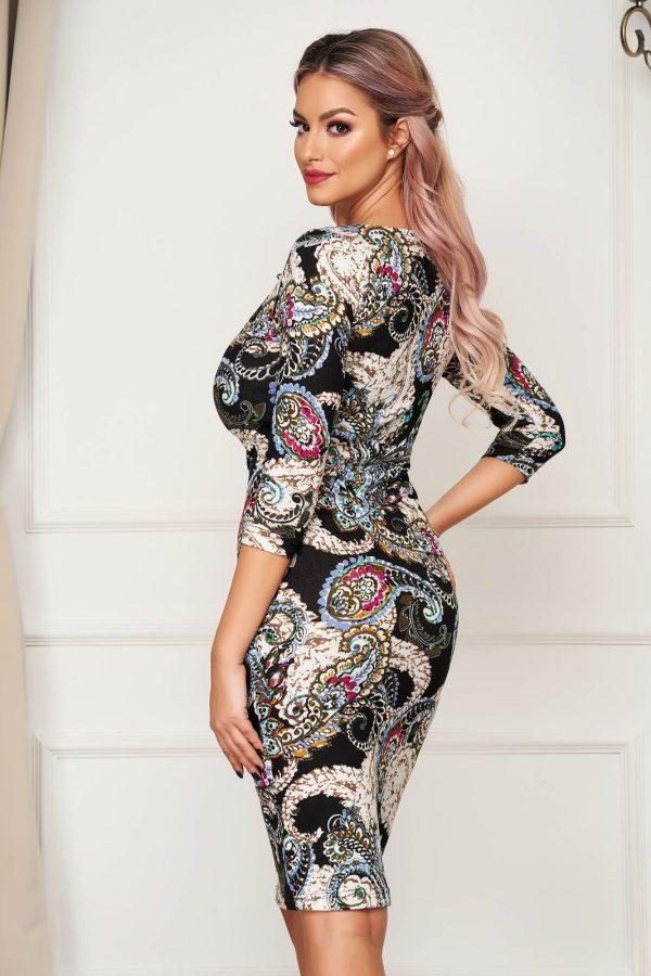 Rochie eleganta de zi cu croi mulat si maneci trei-sferturi