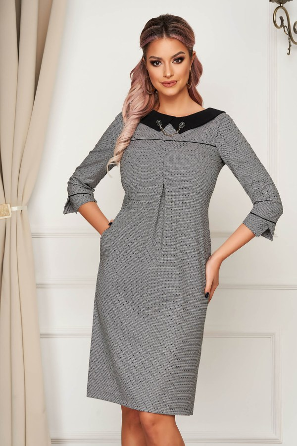 Rochie eleganta gri office croi drept din stofa usor elastica