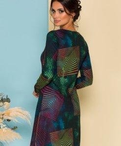 Rochie eleganta neagra usor cambrata cu imprimeu multicolor si geometric