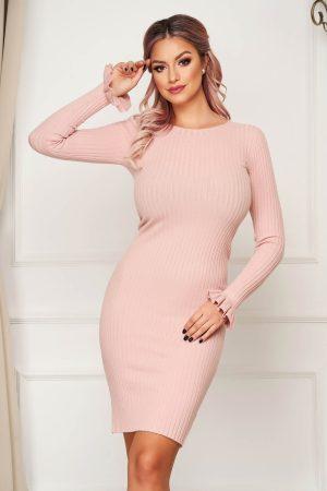 Rochie eleganta roz scurta de zi tip creion tricotata cu volanase