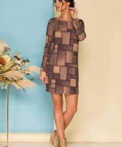 Rochie eleganta scurta cu imprimeu tip petice in nuante tomnatice cu bej
