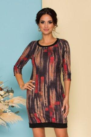 Rochie eleganta scurta cu imprimeuri in nuante tomnatice