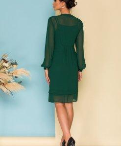Rochie eleganta verde lejera cu nasturi decorativi si decolteu in V