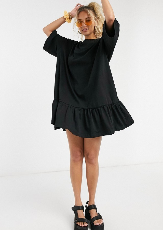 Weekday Erika organic cotton smock dress in black