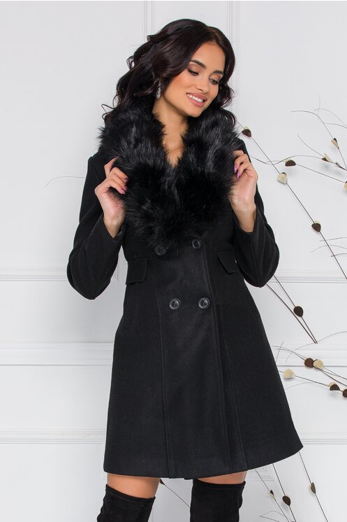 Palton MBG negru cu blanita la guler
