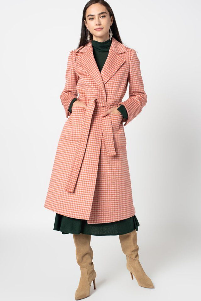 Palton de lana cu imprimeu houndstooth Runaway