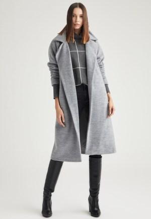 Palton din amestec de lana cu maneci cazute