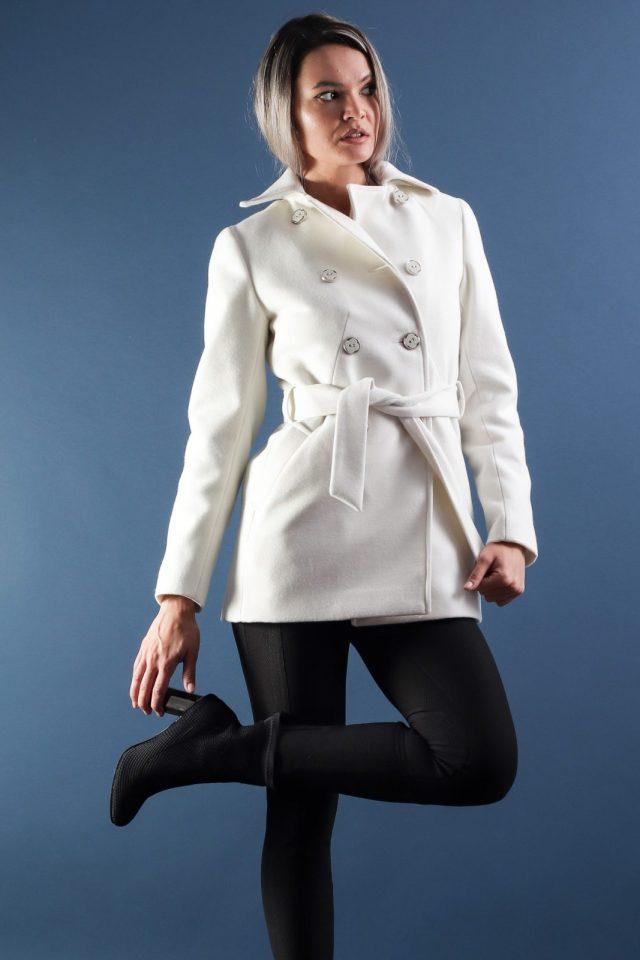 Palton scurt dama alb