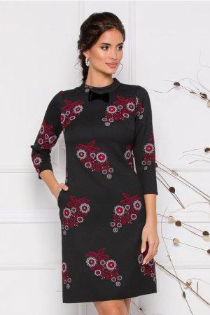 Rochie eleganta neagra cu imprimeu floral si fundita