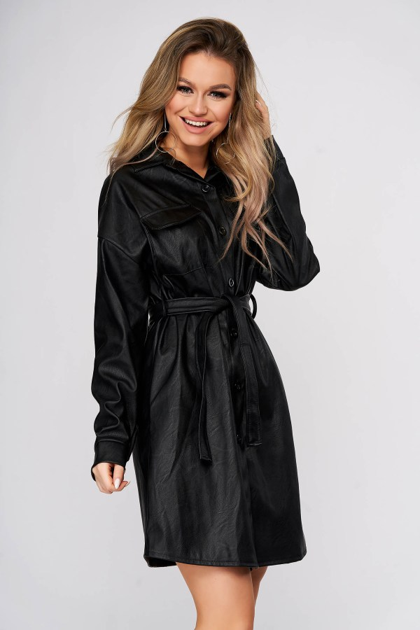 Rochie tip camasa SunShine din piele ecologica neagra scurta casual