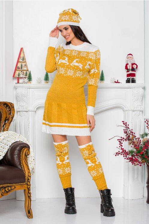 Rochie Bia galbena cu imprimeu de iarna