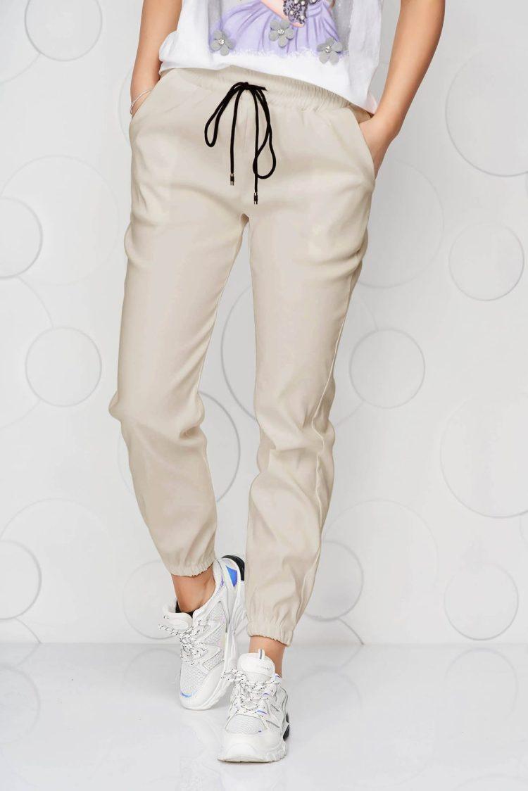 Pantaloni SunShine crem din material subtire