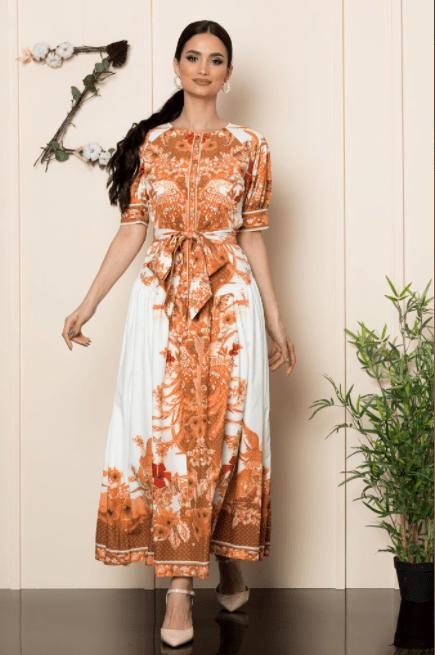 Rochie casual-eleganta lunga cu imprimeu floral caramiziu