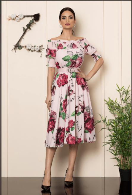 Rochie eleganta din crepe rose cu imprimeu floral