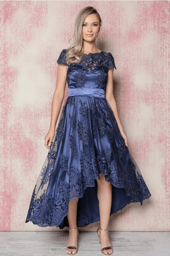 Rochie eleganta MBG bleumarin din dantela si cordon satinat in talie