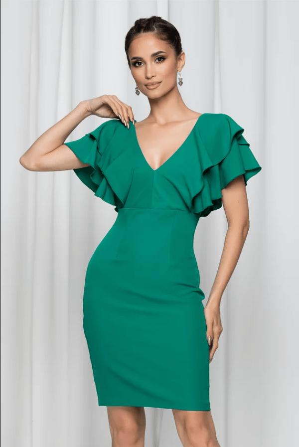 Rochie eleganta Moze verde cu decolteu in v si maneci scurte cu volanase