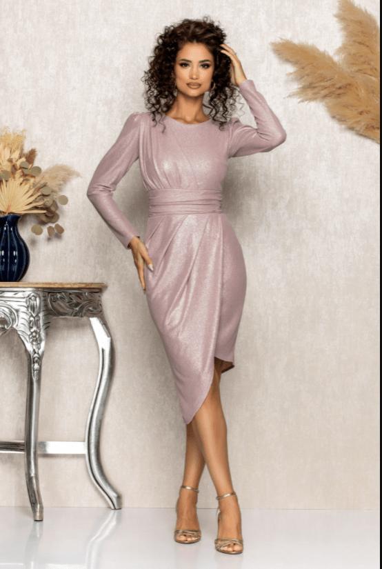 Rochie de ocazie midi rose cu un croi asimetric