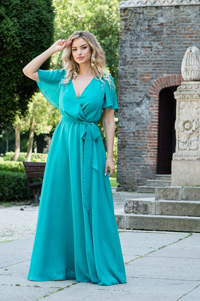 Rochie eleganta lunga din voal turcoaz