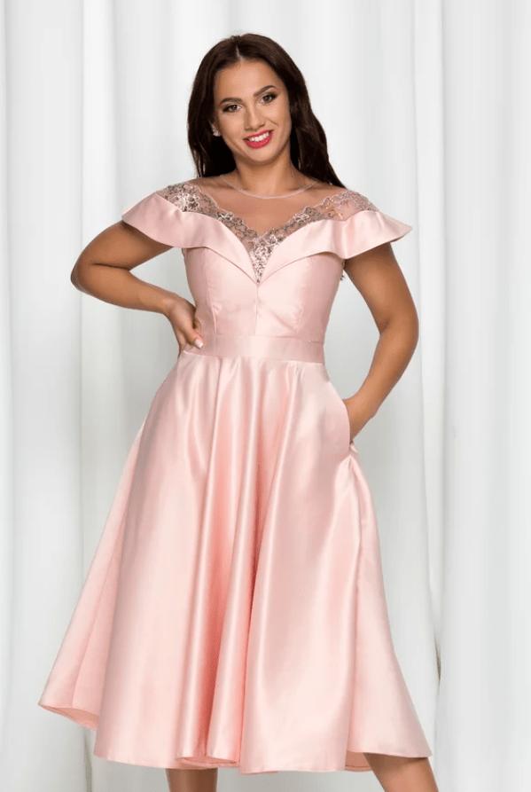 Rochie eleganta roz Moze din tafta si tull la bust
