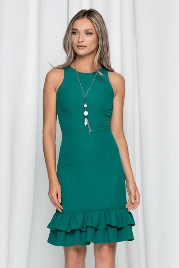 Rochie eleganta verde Celia fara maneci cu volan la baza