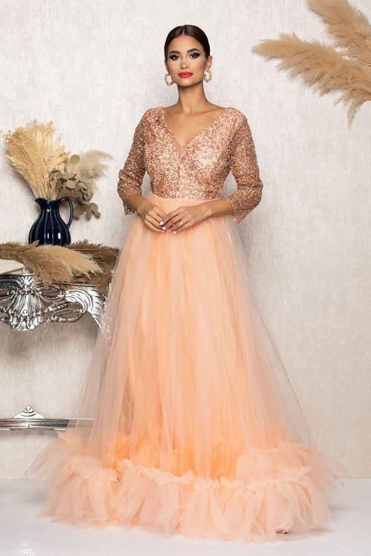 Rochie eleganta de ocazie din tull cu aplicatii din broderie