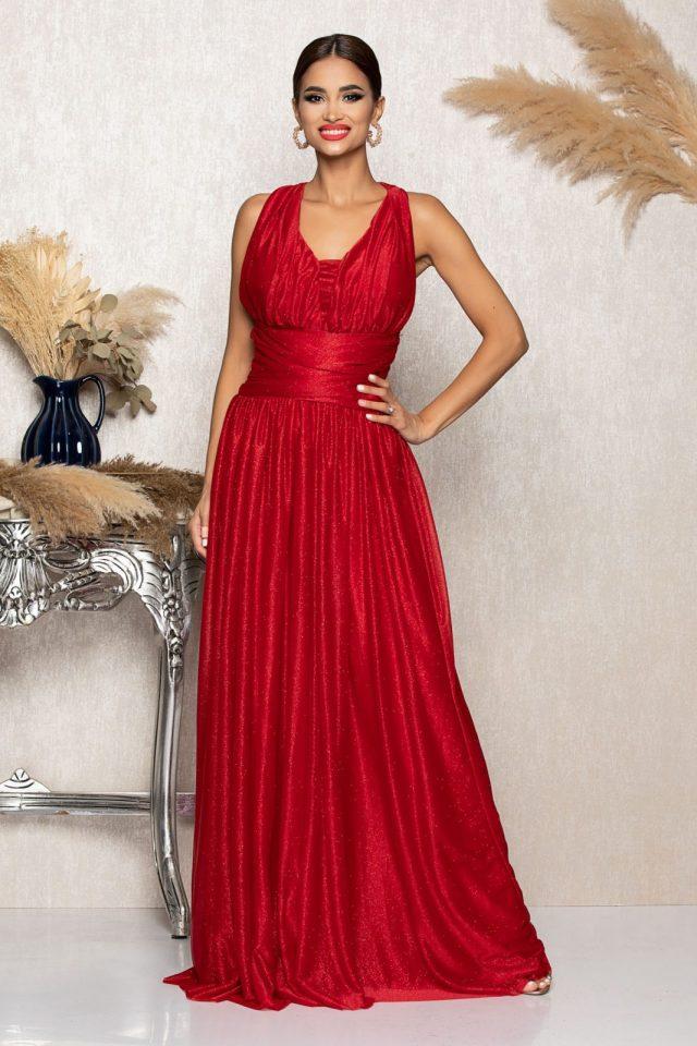 Rochie eleganta de ocazie rosie cu franjuri si strassuri la spate